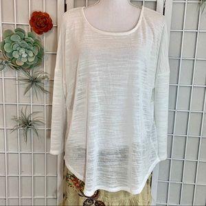 Olive & Oak Sheer White Scoop Neck Sweater